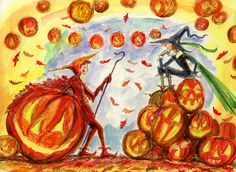 """""""Waiting for Halloween"""" That's what we do for 12 months a year! A fun illustration made on commission. Copyright John Randall York"""