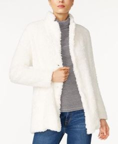 Tommy Hilfiger Corinne Sherpa Jacket, Only at Macy's - White M