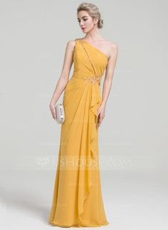 [US$ 134.19] A-Line/Princess One-Shoulder Floor-Length Chiffon Evening Dress With Beading Sequins Cascading Ruffles