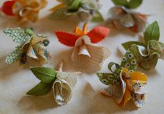 fabric flower bouttonnieres by *lalalaurie, via Flickr