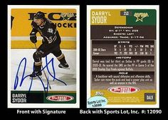 Darryl Sydor Signed 2003 Topps Total #253 Dallas Stars Trading Card SL Authentic . $6.00. National Hockey League DefensemanDarryl SydorHand Signed 2003 Topps Total #253 Trading CardSydor Played For:Los Angeles Kings 1991-1995Dallas Stars 1995-2003Columbus Blue Jackets 2003Tampa Bay Lightning 2003-2006Dallas Stars 2006-2007Pittsburgh Penguins 2008-2009Dallas Stars 2009St. Louis Blues 2009-2010.GREAT AUTHENTIC DARRYL SYDOR HOCKEY COLLECTIBLE!!AUTOGRAPHS GUARANTEED AUTHENTIC BY SPO...
