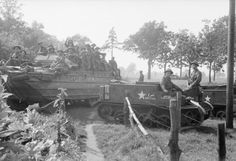 DUKW and Universal carriers of 5th Duke of Cornwall's Light Infantry, 43rd Division, The Netherlands, 18 September 1944. Market Garden