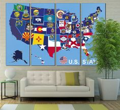 USA Map, Vintage Map, States Map, State Flags, Wall Art, Canvas ...
