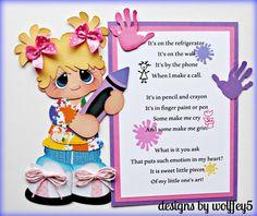 ARTIST GIRL paper piecing premade scrapbook page album die cut Scrapbook Borders, Scrapbook Titles, Scrapbook Paper, Paper Piecing, Finger Painting, Punch Art, Paint Pens, Painted Signs, Crafts To Make