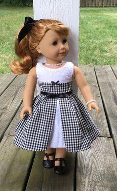 "18"" doll black gingham dress, crinoline, black ribbon belt and hair ribbon"