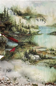 Bon Iver album. Watercolor illustration by Gregory Euclides.