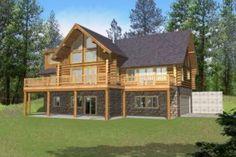Log 3 Beds 2.5 Baths 2513 Sq/Ft Plan #117-416 Front Elevation - Houseplans.com