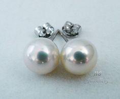 HS Huge Collection Quality Luster #Akoya Cultured #Pearl 10mm 14KWG #Stud #Earrings #Jewelry #Thanksgiving #Christmas