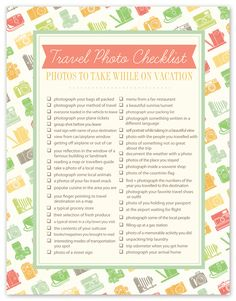 Heading on vacation with the family this summer? Print out this fantastic freebie and bring it with! Travel Photo Checklist
