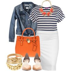White Stripes - Plus Size, created by alexawebb on Polyvore