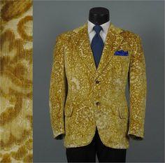 Vintage 1970s Mens Jacket  Harvest Gold Plush by jauntyrooster, $175.00