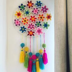 Bohostyle Dream catchers bright color knitted dream catchers handmade wall decor home decor wall hanging dream catcher Crochet Wall Art, Crochet Wall Hangings, Crochet Home, Crochet Gifts, Crochet Doilies, Diy Bordados, Wooden Feather, Dream Catcher Craft, Crochet Dreamcatcher