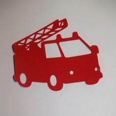 Appliqué camion de pompier en flex thermocollant (thème enfant)