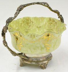 Lot:2058: Victorian spatter glass bride's basket, Lot Number:2058, Starting Bid:$300, Auctioneer:Clars Auction Gallery, Auction:2058: Victorian spatter glass bride's basket, Date:07:00 AM PT - Dec 2nd, 2007