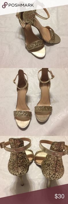 """Nordstrom BP gold ankle strap heels Gold glitter back & front strap, heels measure 3"""" length of shoe measures 10.5"""", these are beautiful BP Nordstrom Shoes Heels"""
