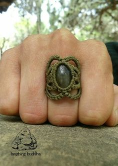 Labradorite ring macrame ring handmade jewelry by byLaughingBuddha
