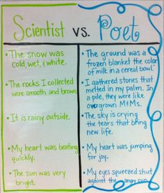 Scientist vs. Poet Anchor Chart- comparisons to help kids understand poetry and create their own.