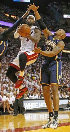 Lebron James and David West - Indiana Pacers-- #ProBasketballMiamiHeat  -- #LebronJamesNBA