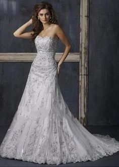 US $260.99 | Gorgeous Organza A-Line strapless Sleeveless Embroidery Wedding Dresses