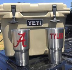Alabama University Crimson Inspired DECAL for Yeti Tumbler with or without Personalization by LeslisDesigns on Etsy