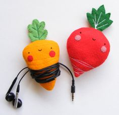 Keep track of your earphones with smiling veggies.