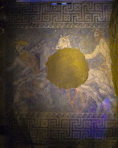 New tomb discovery at Amphipolis.  The composition shows Hermes leading a bearded man on a horse-drawn chariot.