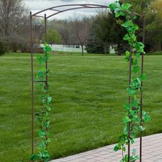 Allow the simple style of the Coral Coast Acropolis Extra Wide Metal Arbor to make a statement in your garden. With its Old-World inspired design, this eleg Iron Pergola, Garage Pergola, Pergola Swing, Metal Pergola, Cheap Pergola, Outdoor Pergola, Backyard Pergola, Pergola Shade, Pergola Plans