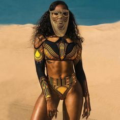 Womens Fashion African Design Super Sexy Push Up Gold Vintage Egypt Bikini