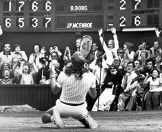 Pictured: Bjorn Borg falls to his knees in front of the scoreboard on the Centre Court on July 5, 1980 after beating John McEnroe in an amazing five setter, to clinch the title for the fifth year in a row.