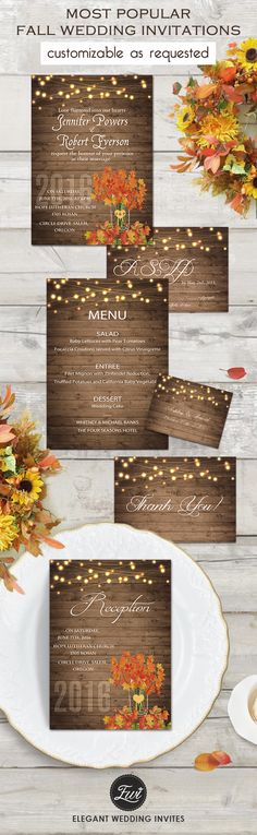 2016 trending custom rustic fall wedding invitations with FREE RSVP CARDS-This one can be customized as requested including wordings and design.