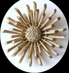Vintage Pegasus Coro Atomic Modernist Gold Tone Brooch Pin Brushed Metal | eBay