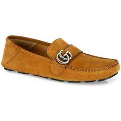 Gucci Noel Suede Drivers ($530) via Polyvore featuring men's fashion, men's shoes, men's loafers, mens suede shoes, gucci mens shoes and mens shoes
