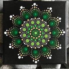 For sale is a hand-painted Mandala on a 6x6 canvas. Painted with high-quality acrylic paints, with a gloss acrylic finish for protection. Colors in this Mandala are Green & Gold. Each one is hand made and no two are alike