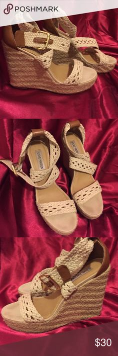 Steve Madden Magestee Wedges Braided Steve Madden wedges. These are really comfortable and perfect summer wedges. Very minor wear on insole only. Steve Madden Shoes Wedges
