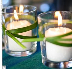 Bear grass-wrapped votive candles added a touch of tropical elegance to each table.