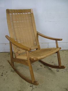 Vintage Mid Century Modern Woven Rope Chair Rocker Chair Yugoslavia Wegner Era in Antiques, Furniture, Chairs   eBay