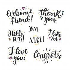 Szép betűk írása Bullet Journal Diy, Handwritten Quotes, Hand Lettering Fonts, Thank You Stickers, Psd Templates, Business Design, Handwriting, Vector Free, Love Quotes