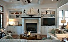 one of my Favorite Beach Houses House Tour of a gorgeous beach house. American Home DecoratingHouse Tour of a gorgeous beach house. American Home Decorating Coastal Living Rooms, Living Room Tv, Home And Living, Coastal Kitchens, Design Seeds, Style At Home, Beach House Decor, Home Decor, Beach Houses