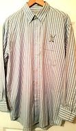 Ben Hogan Men's Button Down Blue/White Striped Shirt Size Large Golf Logo