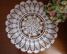 Items similar to Crochet doily,cotton doily,floral doily on Etsy Crochet Lace Edging, Unique Crochet, Beautiful Crochet, Hand Crochet, Crochet Patterns, Lace Doilies, Crochet Doilies, Crochet Flowers, Extra Long Table Runners
