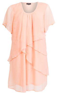 Super seje Laksefarvet chiffon kjole i lag på lag Zhenzi Modetøj til Damer til hverdag og fest