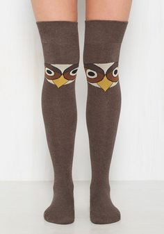 'Hoots' got the coolest socks in town? You do, after adding these brown thigh highs to your collection of fancy footwear! Festooned with stern-faced, cream and goldenrod birds, this over-the-knee pair is 'owl' you need to complete an adorable look on the 'fly'!