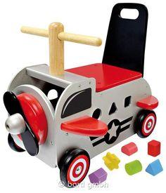 Bartl, Schiebewagen Flugzeug, Stabiler Spielwagen aus Holz   111332