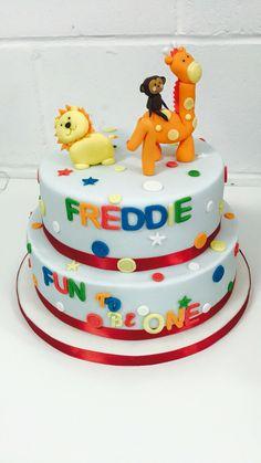 Colourful animal cake