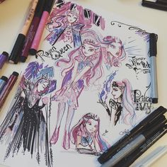 i forgot half of my pens at home - but even with a limited number of colors you can create somethin ❤️💜 also these took half an hour, so excuse those crappy lines Ever After High, Fashion Sketches, Art Sketches, Sketchbook Tour, Monster High Art, Edgy Girls, Cartoon As Anime, Raven Queen, Somebody To Love