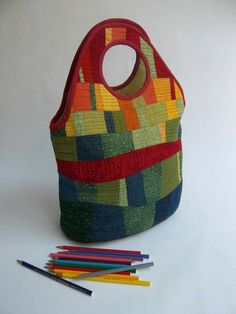 patchwork bag bright colors red yellow orange and ♥ by Sakamaliss, €38.00