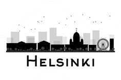 Helsinki City skyline black and white silhouette. Simple flat concept for tourism presentation, banner, placard or web site. Black And White City, Skyline Silhouette, Famous Landmarks, Saudi Arabia, Helsinki, Business Travel, Silhouettes, Art Work, Tourism