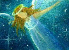 ACEO Original Angel Painting Spiritual Inspirational Healing Energy by CCA