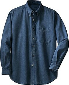 3e5d99db3f6 Men s Long Sleeve Denim Shirts in Sizes XS-6XL at Amazon Men s Clothing  store