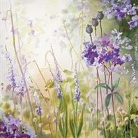 Summer's Day 1 by Judi Trevorrow. I love the hazy feel of this picture! Available to buy from Cornwall Art Galleries #purple #art #flowers